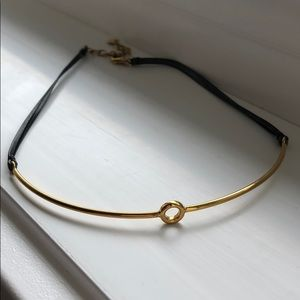 Stella and Dot gold and leather choker